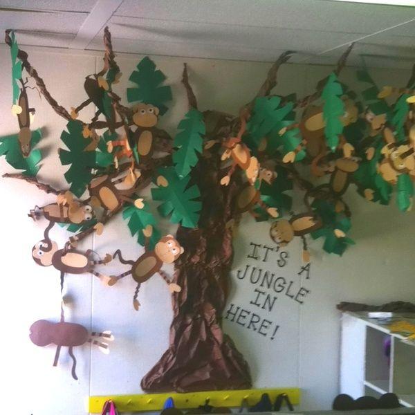 Kindergarten Jungle Theme Ideas | Jungle Crafts- Monkey Tree | classroom ideas