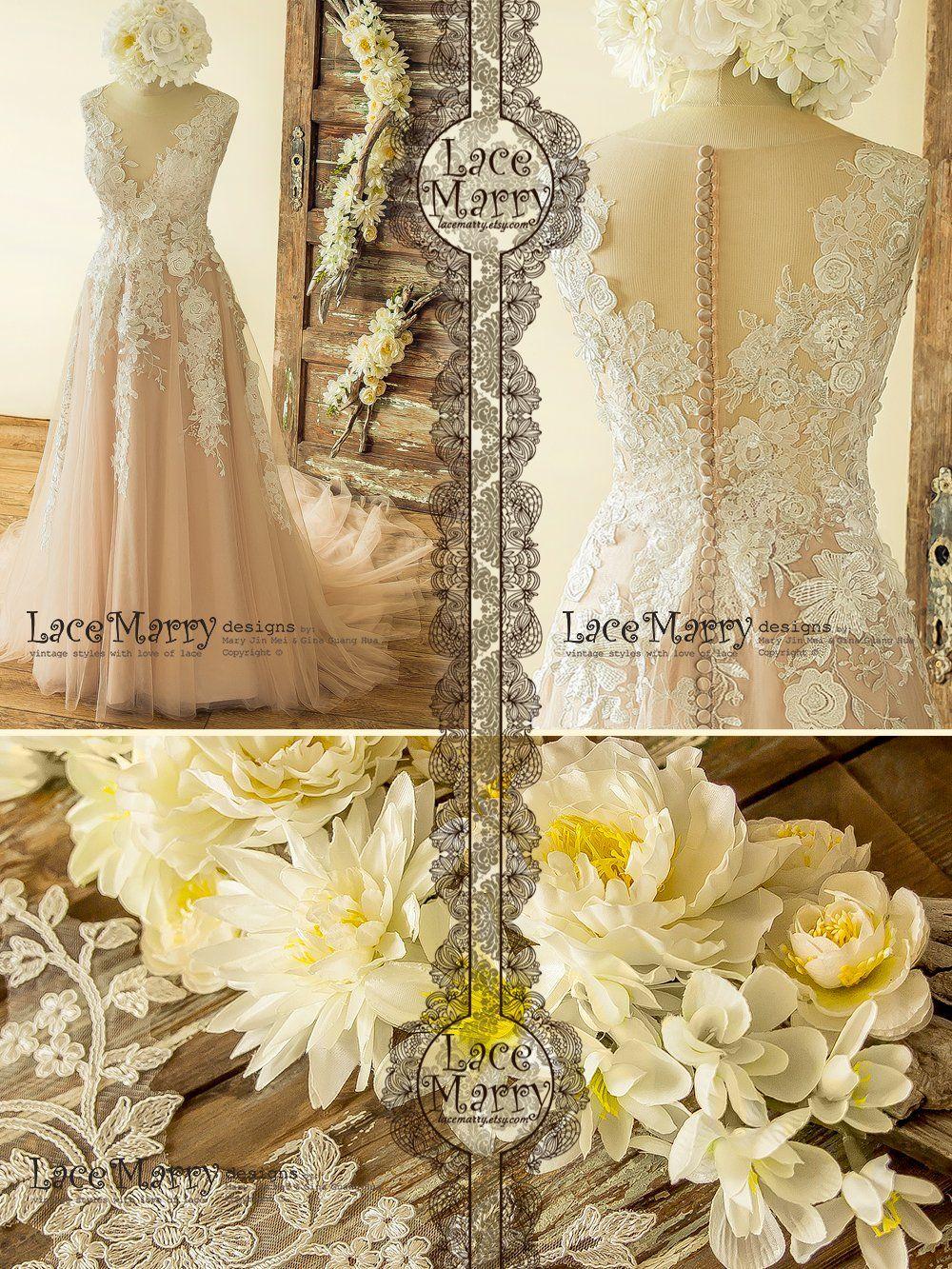 Boho blush wedding dress with ivory lace d flower appliques vcut