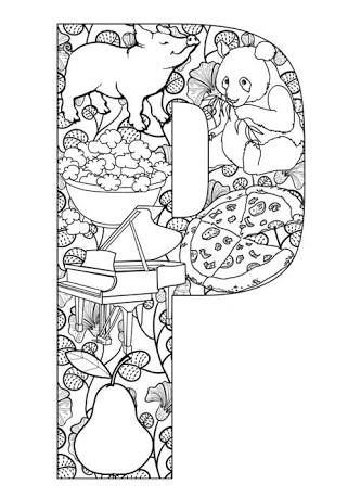 Revered image within free printable alphabet coloring pages for adults