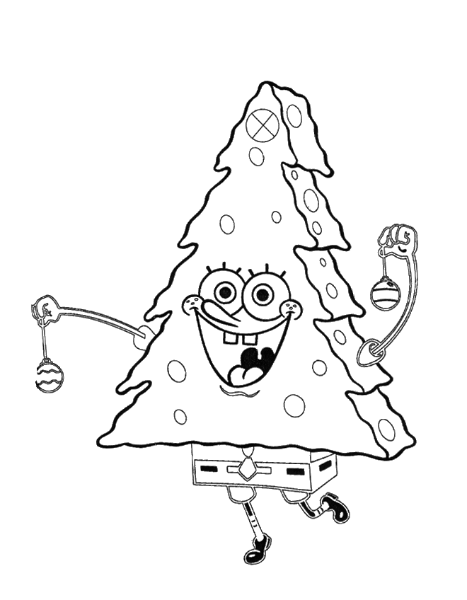 Spongebob Funny And Cool Christmas Coloring Page - Christmas Coloring Pages…