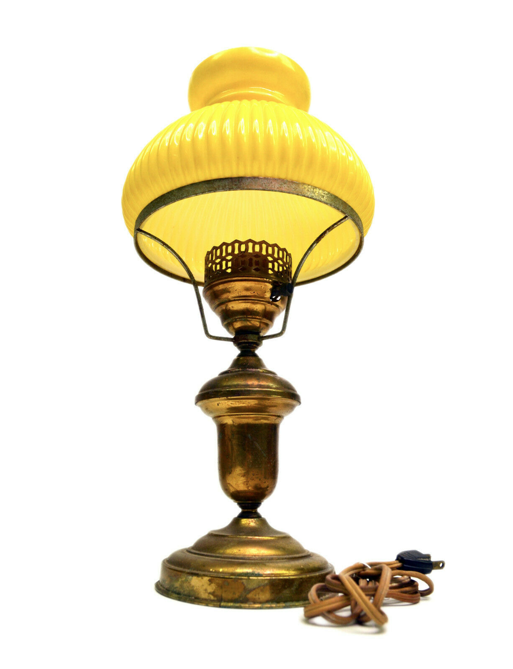 Antique Yellow Glass Shade Brass Desk Parlor Lamp Original Ribbed Victorian 16 Ebay In 2020 Antique Lamp Shades Glass Shades Lamp