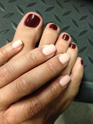 opi bubble bath on fingers opi mrs o'leary's bbq on toes