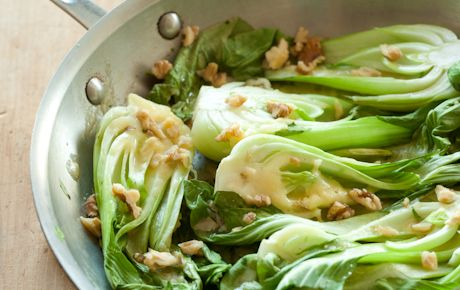 Ale Braised Bok Choy with Aged English Cheddar #vegetarian #recipe #dinner
