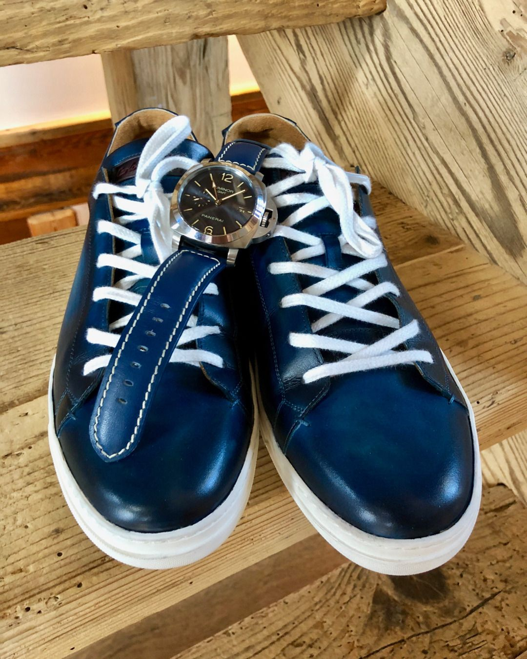 5080be0e0a6 Carlos Santos sneakers with a stunning deep blue patina by  chez monsieur  paired with a Panerai PAM688 and matching strap!  qdrion  patina  patine   souliers ...