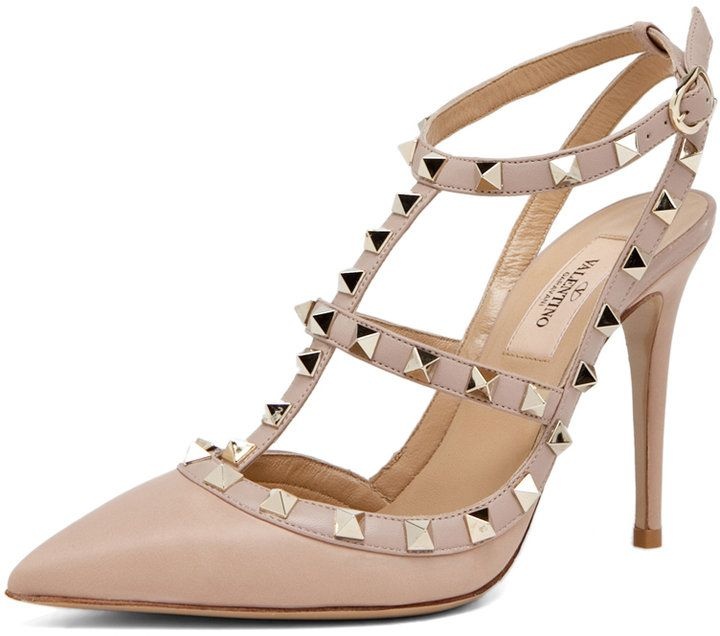Bridal Shoes Alternative: Valentino Rockstud Sling Back T.100 In Poudre Thestylecure