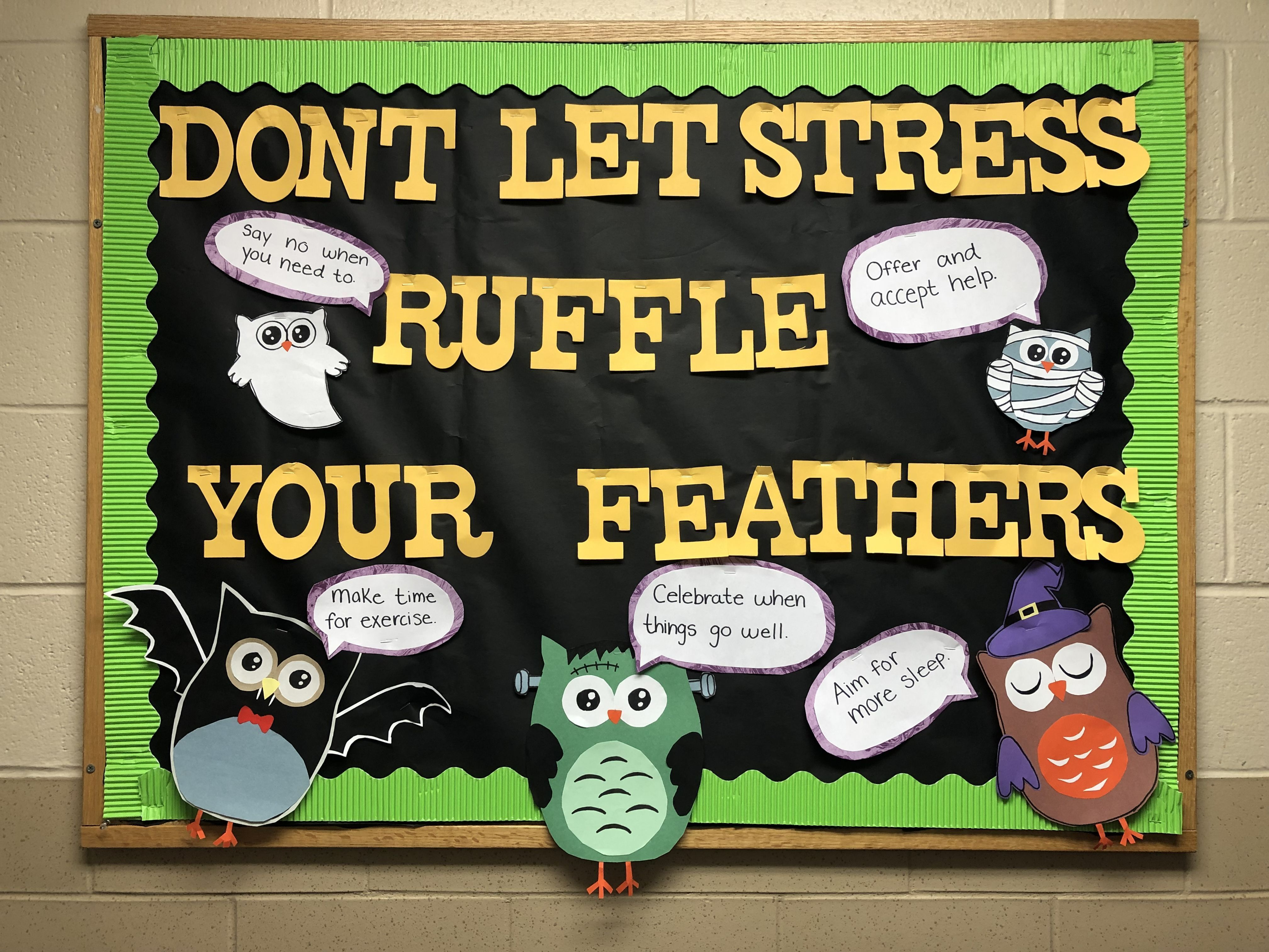 Don't let stress ruffle your feathers. Halloween Bulletin board  #halloweenbulletinboards Resident assistant bulletin board. Halloween bulletin board. Don't let stress ruffle your feathers. #halloweenbulletinboards Don't let stress ruffle your feathers. Halloween Bulletin board  #halloweenbulletinboards Resident assistant bulletin board. Halloween bulletin board. Don't let stress ruffle your feathers. #halloweenbulletinboards Don't let stress ruffle your feathers. Halloween Bulletin bo #rabulletinboards