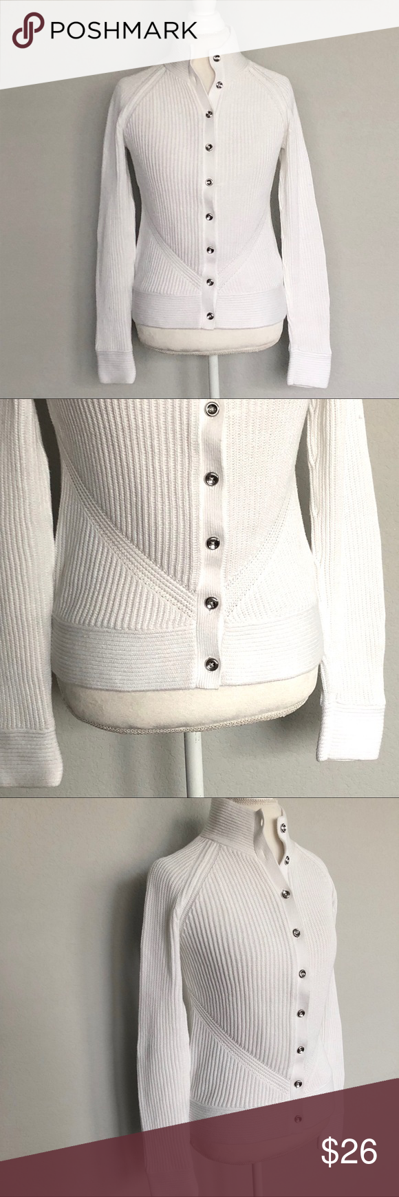Banana Republic Sweater Jacket SZ Medium   Silver buttons, White ...