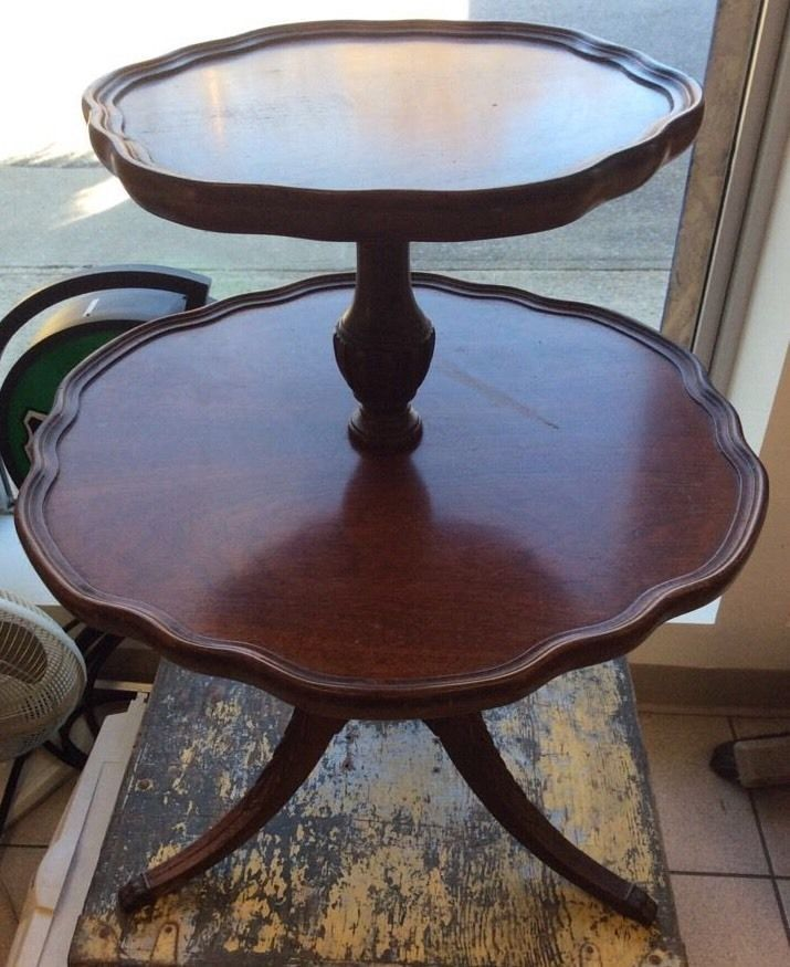 Antique Vintage Round Mersman Mahogany Wood 2 Tier Pie Table Claw Feet Side End Mahogany Wood Beautiful Furniture Antiques