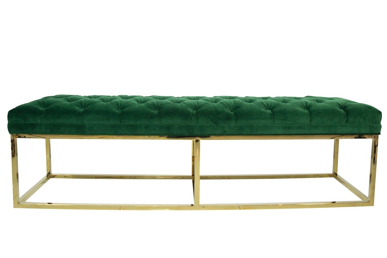 green velvet bench seat