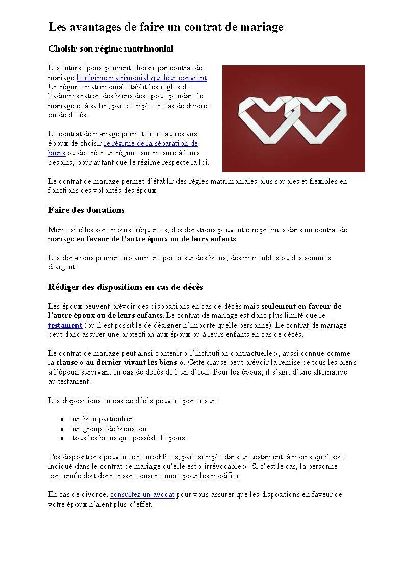 Le Contrat De Mariage Au Qc Infos Page2 Cote Loi Au Qc