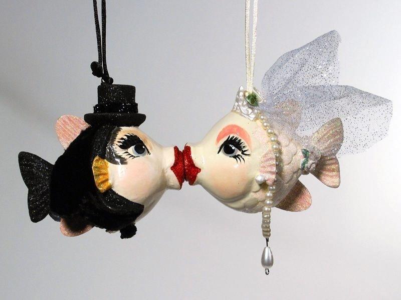 Bride and groom christmas ornament sets