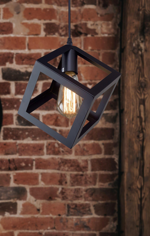 Lnc Transitional Pendants Black Metal Square Pendant Lights