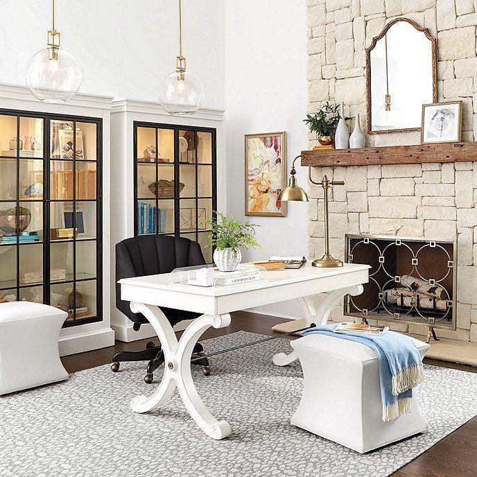 Courbe Ottomon Super White Twill Fabric By Ballard Designs