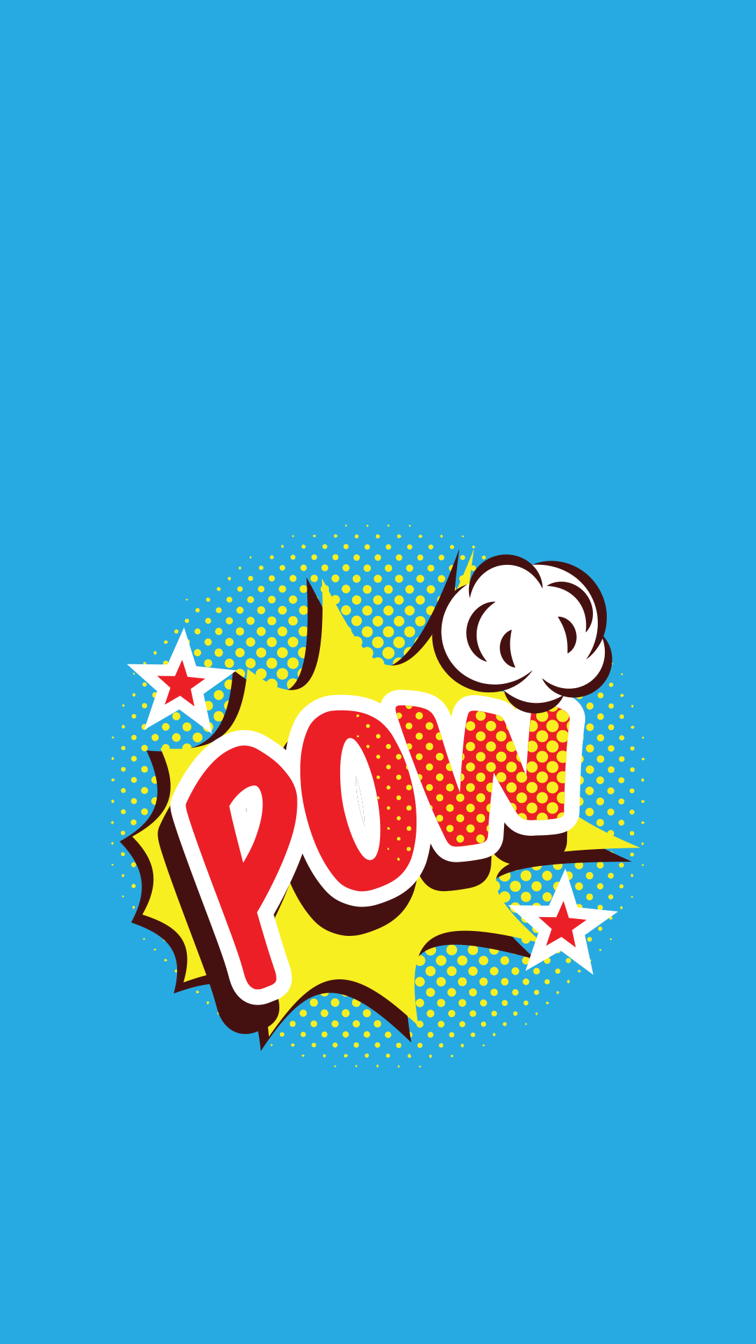 Minimal iPhone wallpaper cartoon pow text Seni