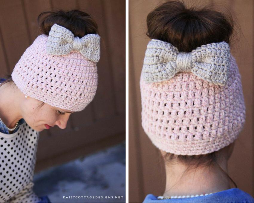 Messy Bun Free Crochet Pattern   Stirnband und Mütze