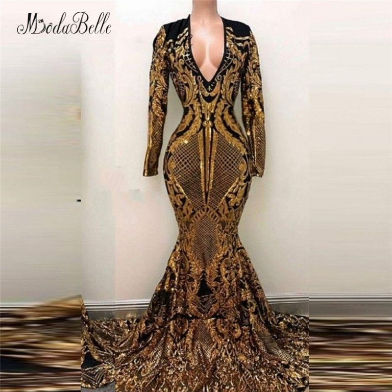 1c640869a1630 modabelle Luxury Mermaid long Sequin Evening Dress Gold Black Saudi ...