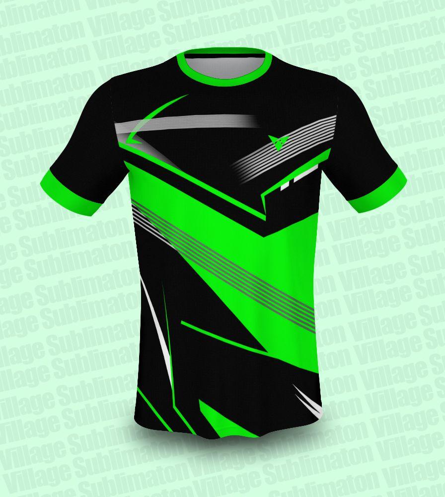 Download Green Black White Stripes Badminton Jersey Design Jersey Design Black White Stripes White Stripe