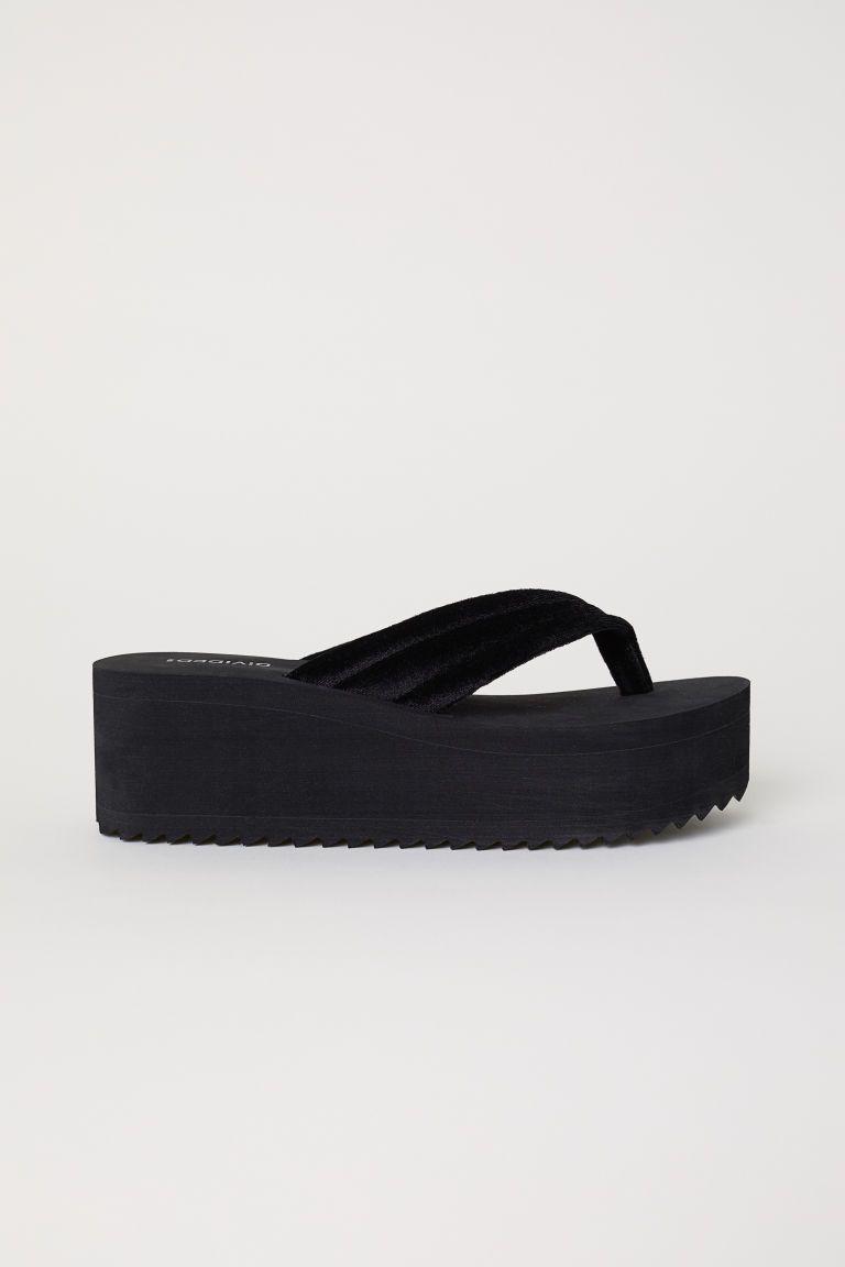 421765a118739 Platform Flip-flops - Black - Ladies