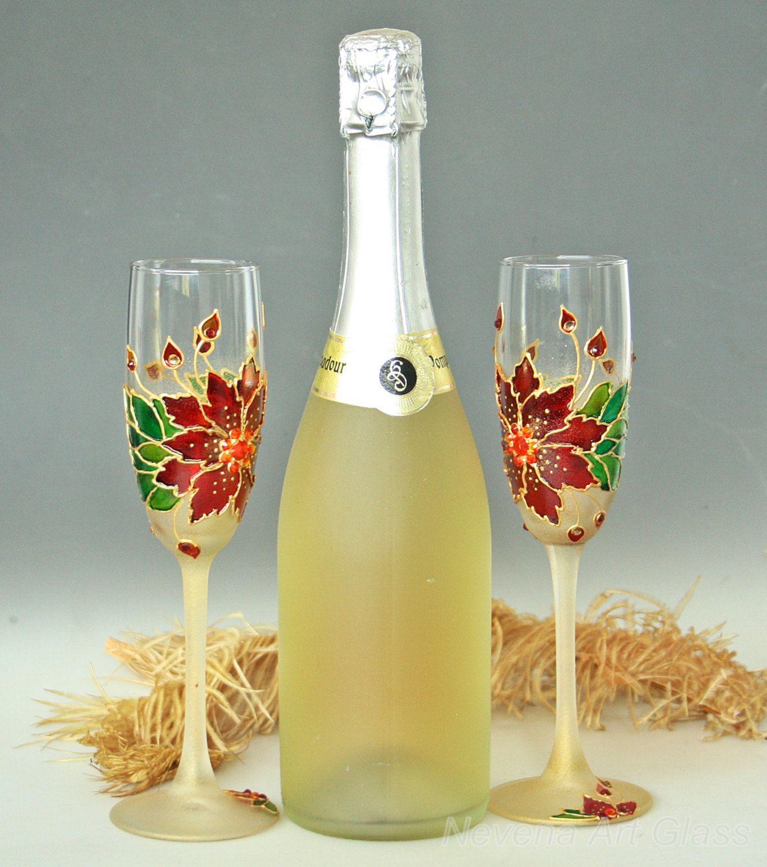 Christmas Glasses Winter Wedding Champagne от NevenaArtGlass