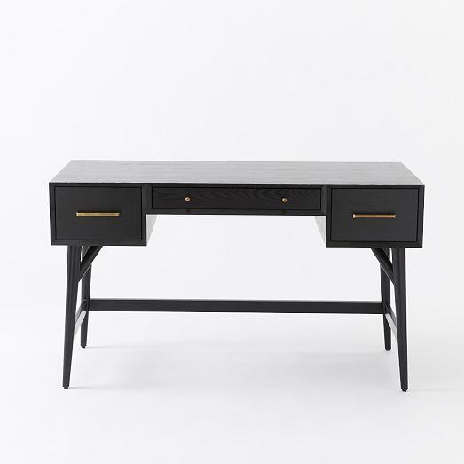Mid Century Desk Black West Elm Desk Furniture Black Desk