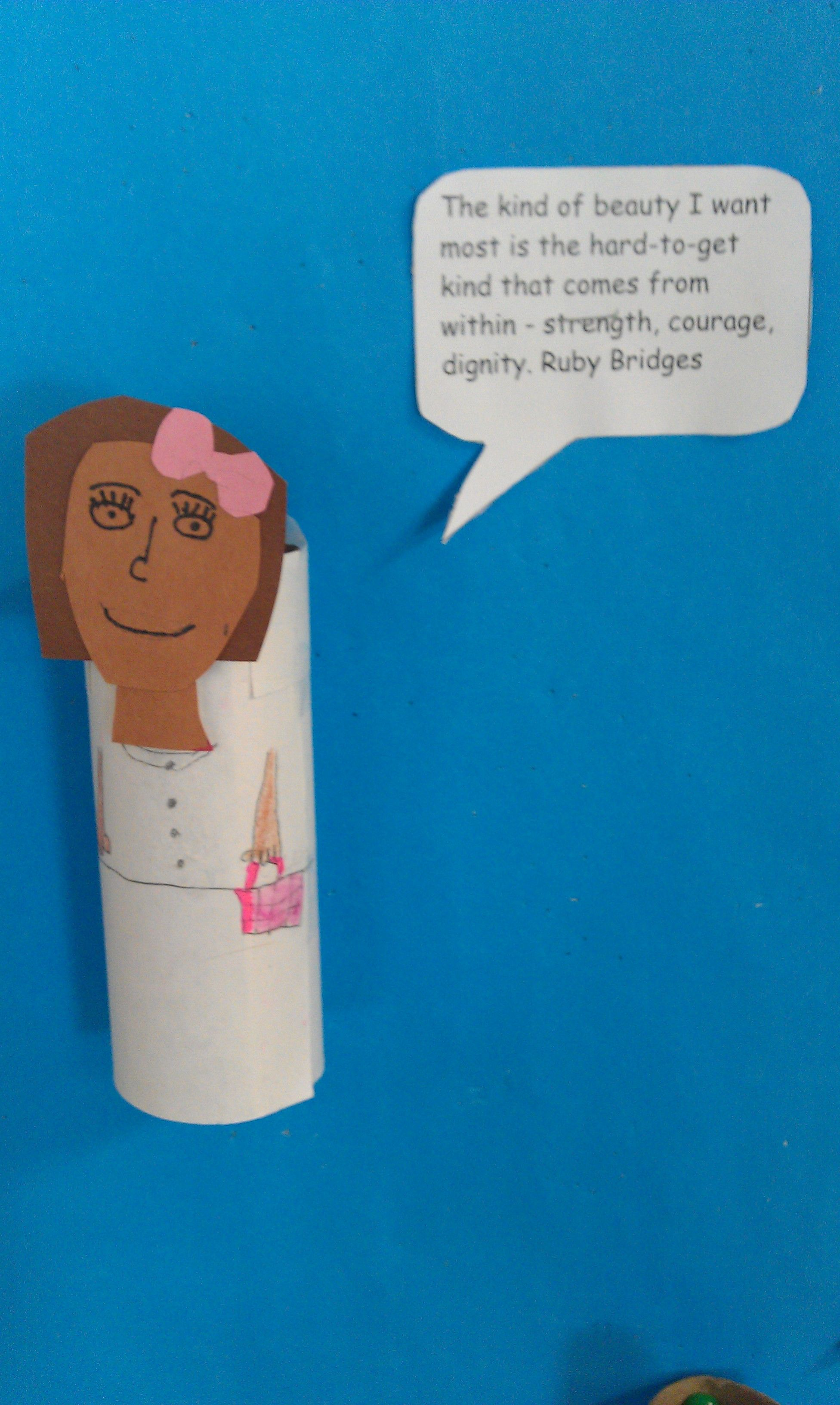 Ruby Bridges Cardboard Tube With Quote For Biography Board