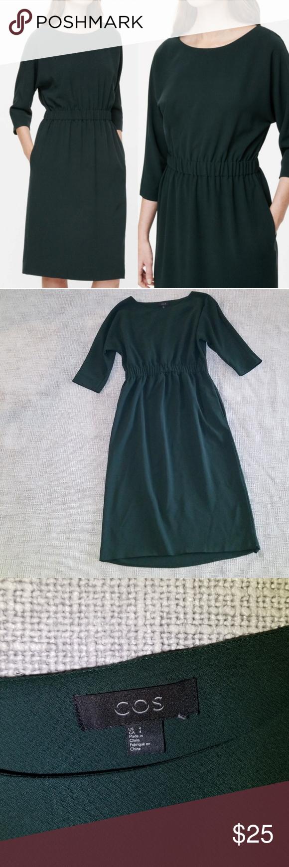 Cos green dress 2018  COS elastic waist dress hunter green COS elastic waist dress approx