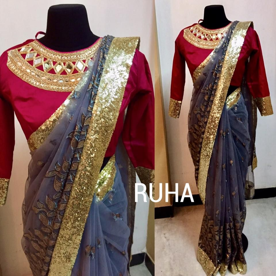 Ash grey full net saree embroidered with thread and sequins. Finished with sequins border. Rs 7000 Blouse maroon pure silk cotton with mirror work neckline full length sleeves. Rs 7000