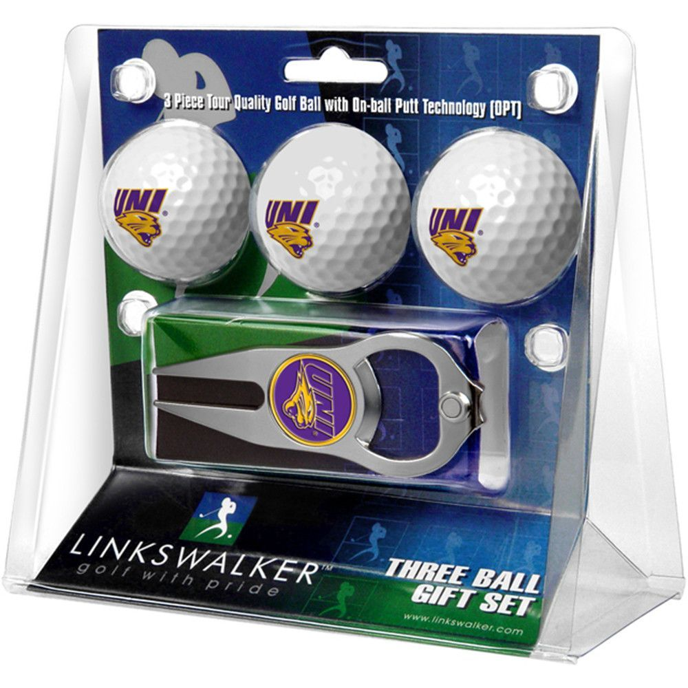 Northern Iowa Panthers NCAA 3 Ball Gift Pack with Hat Trick Divot Tool