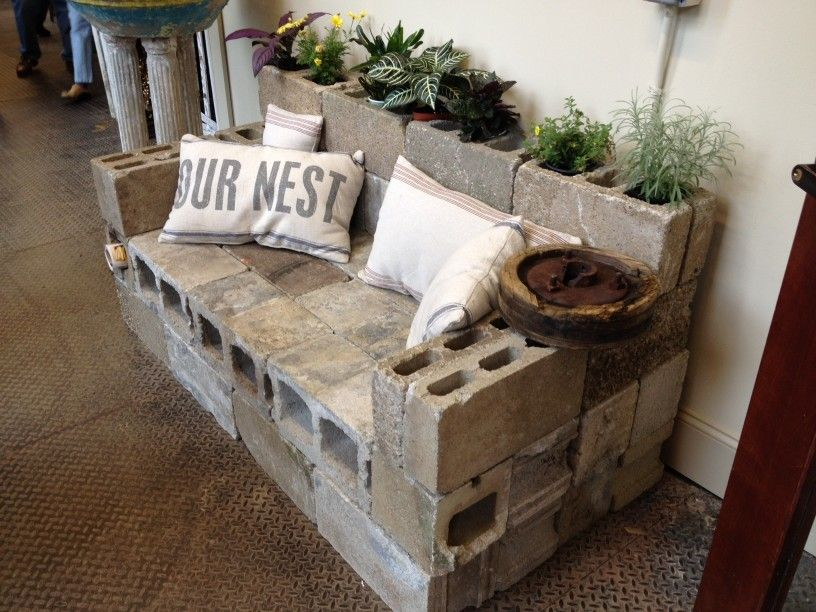 The Cinder Block Sofa This Got My Wheels Churnin Gardening In And Out Pinterest