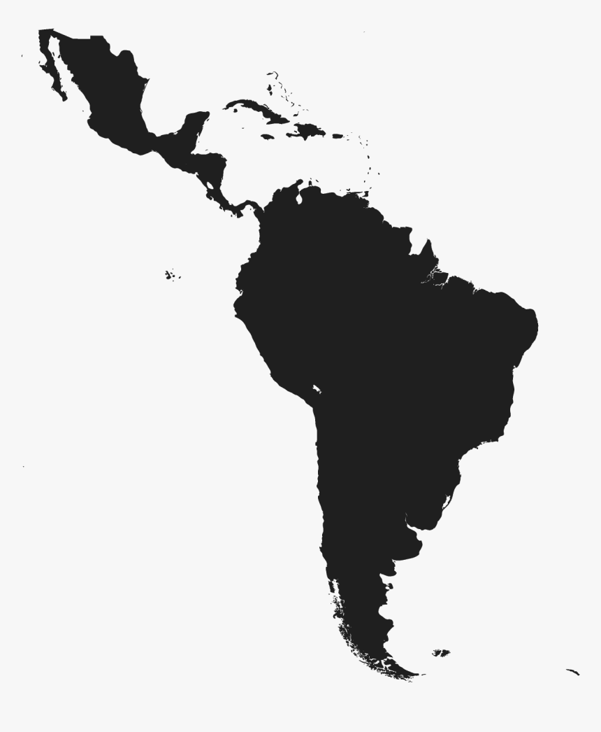 Latin America And Caribbean Latin America Map Black And White Hd Png Download Is Free Transparent Png Image To Latin America Map America Map Latin America