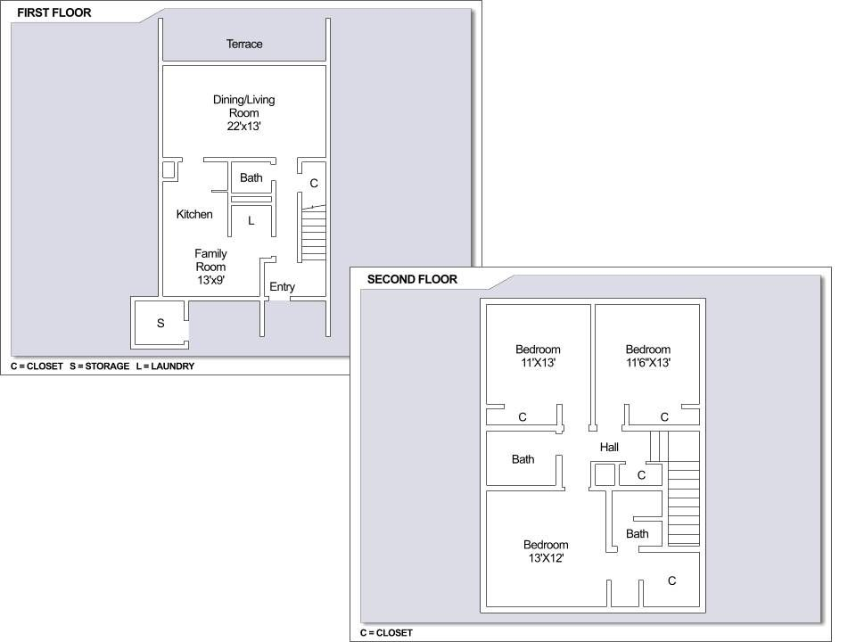 CFA Yokosuka Building 1551 3 bedroom townhome floor plan – Yokosuka Naval Base Housing Floor Plans