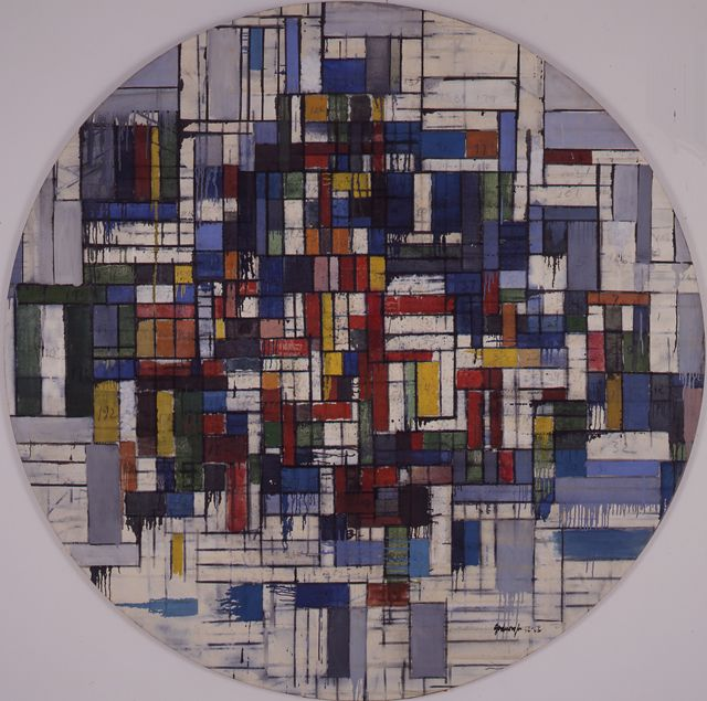 """""""Circle Z"""", 1963, Robert Goodnough, American (1917-2010), oil on canvas, 80 x 80 in. Museum purchase with funds from Burlington Industries, 1965. 1965.1364"""