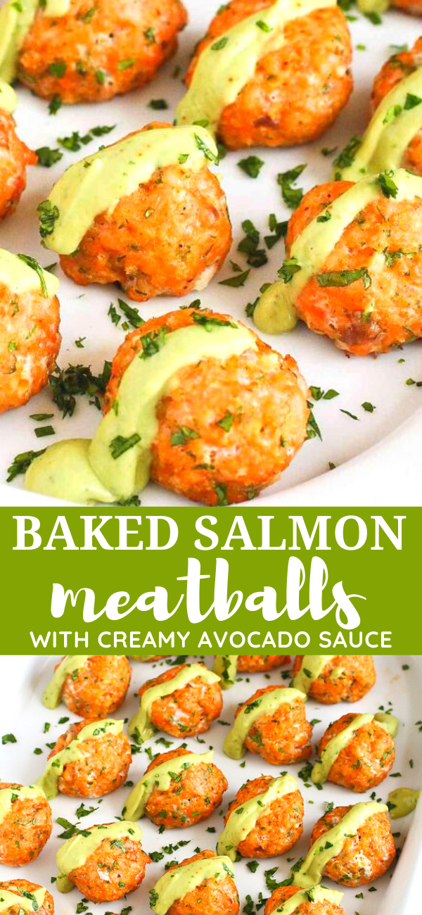 Baked Salmon Meatballs with Avocado Sauce