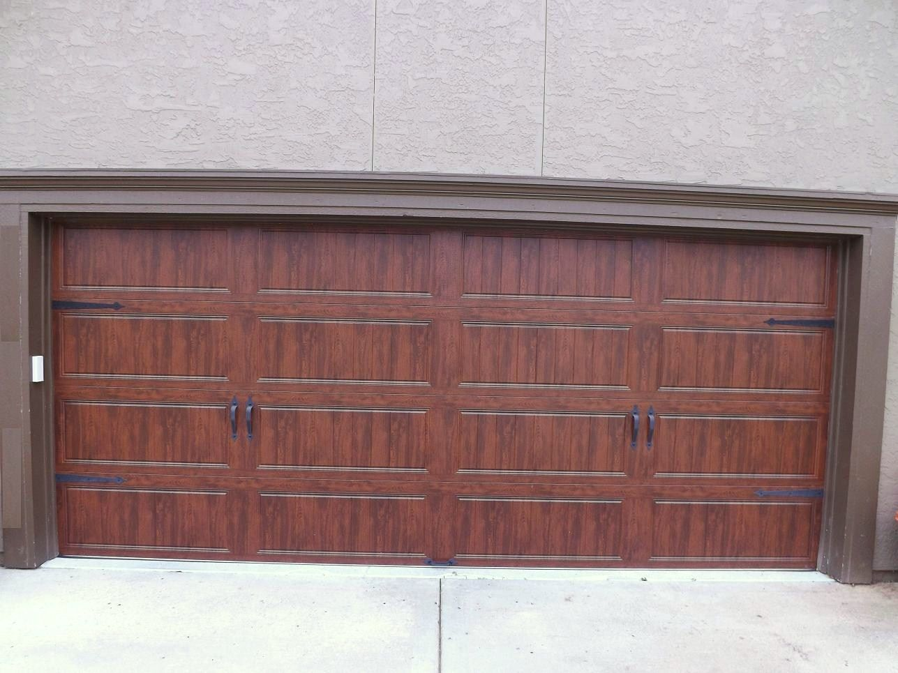 Clopay Gallery Garage Door Ultra Grain Walnut Oak Wrought Iron