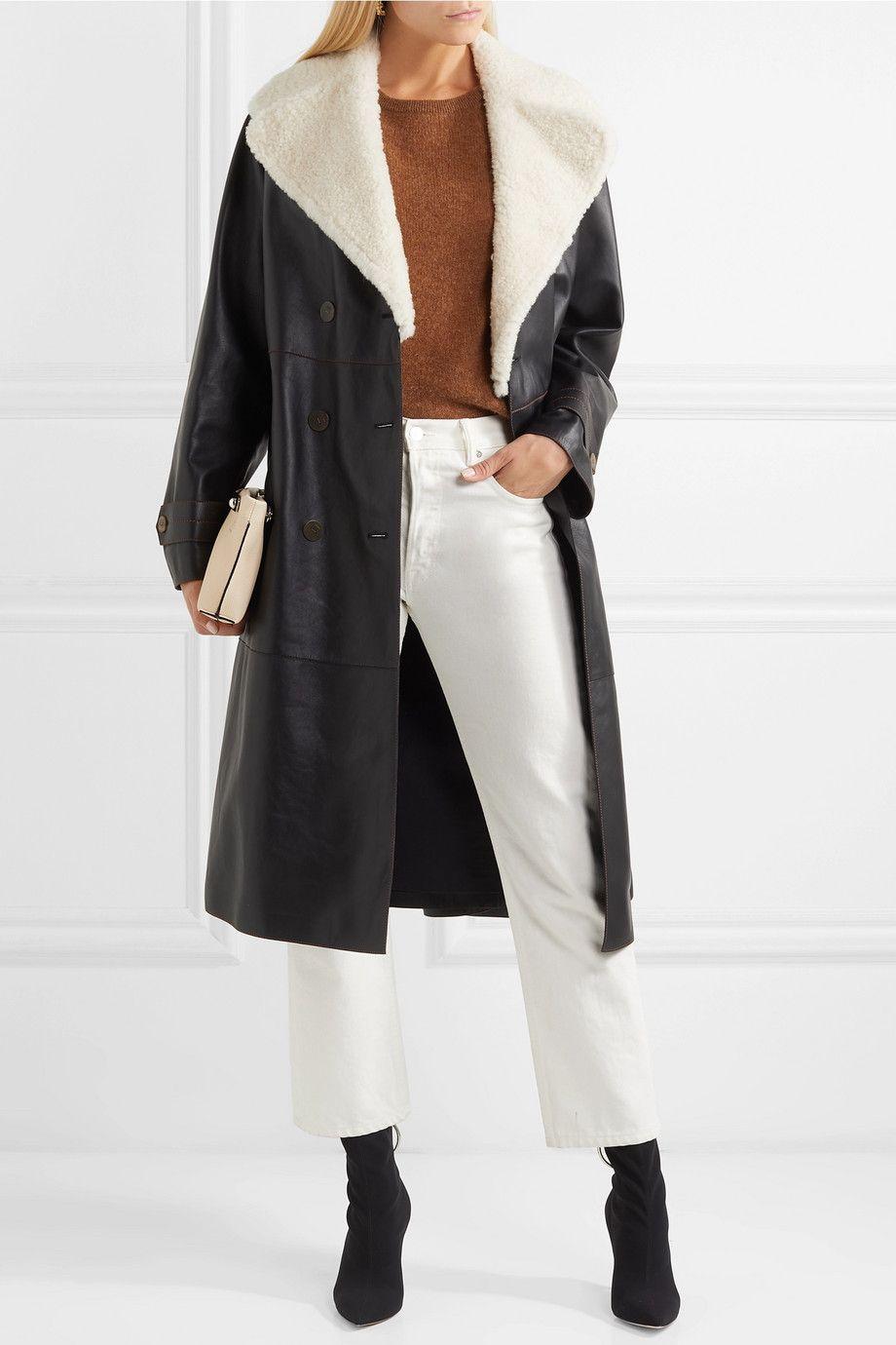 Loewe | Belted shearling trimmed leather coat | NET A PORTER