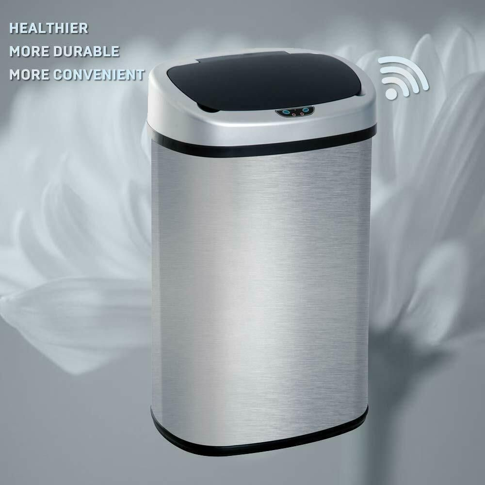 Automatic Sensor Trash Can 13 Gallon Garbage Container Kitchen