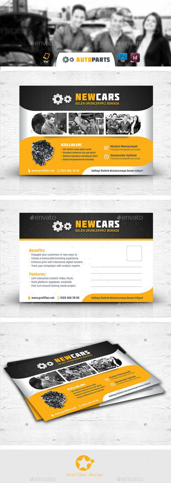 Automobile Service Postcard Templates — Photoshop PSD #brakes #automobile service • Available here → https://graphicriver.net/item/automobile-service-postcard-templates/12460838?ref=pxcr