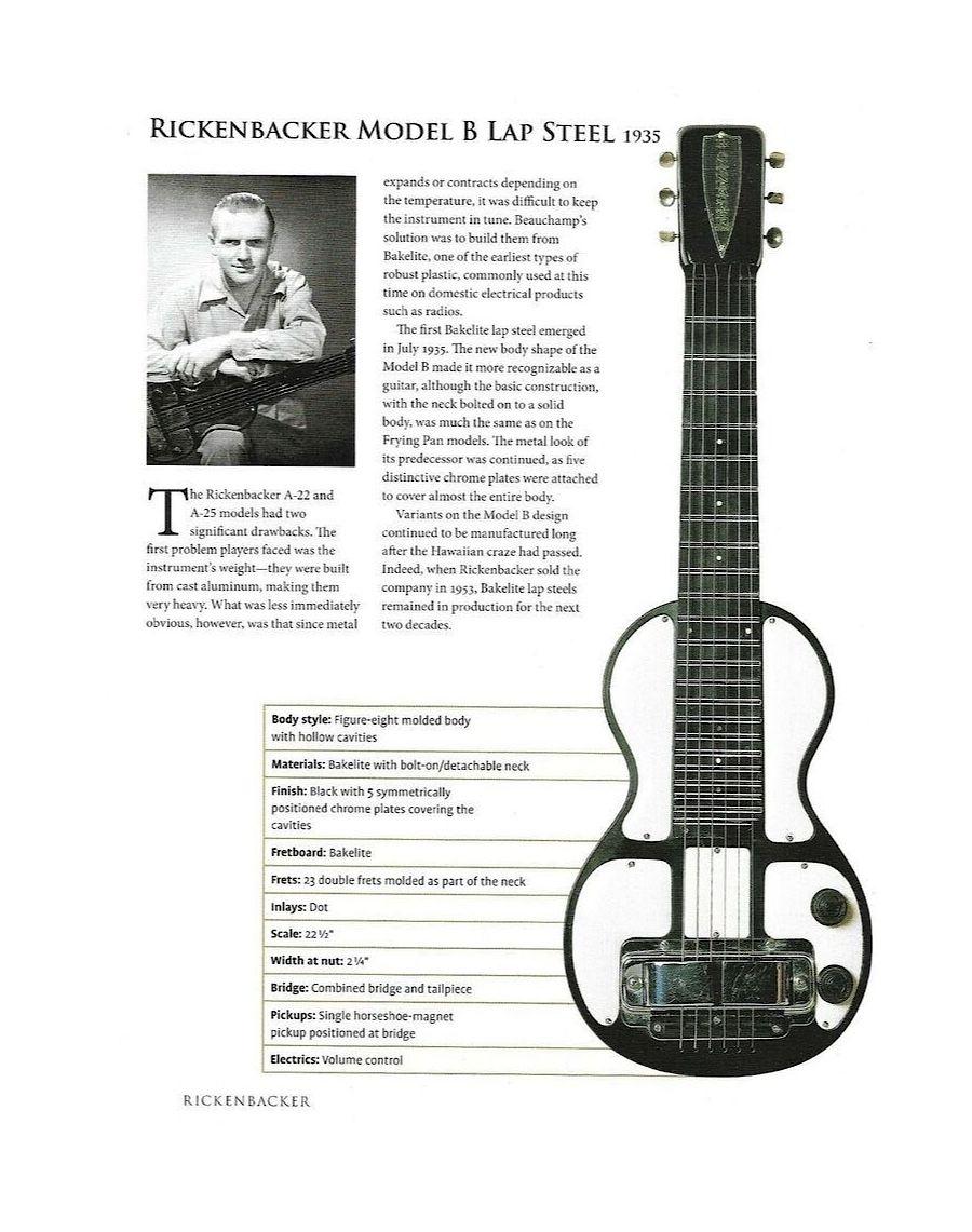 1935 Rickenbacker Model B Lap Steel Brochure In 2020 Lap Steel Guitar Pedal Steel Guitar Lap Steel