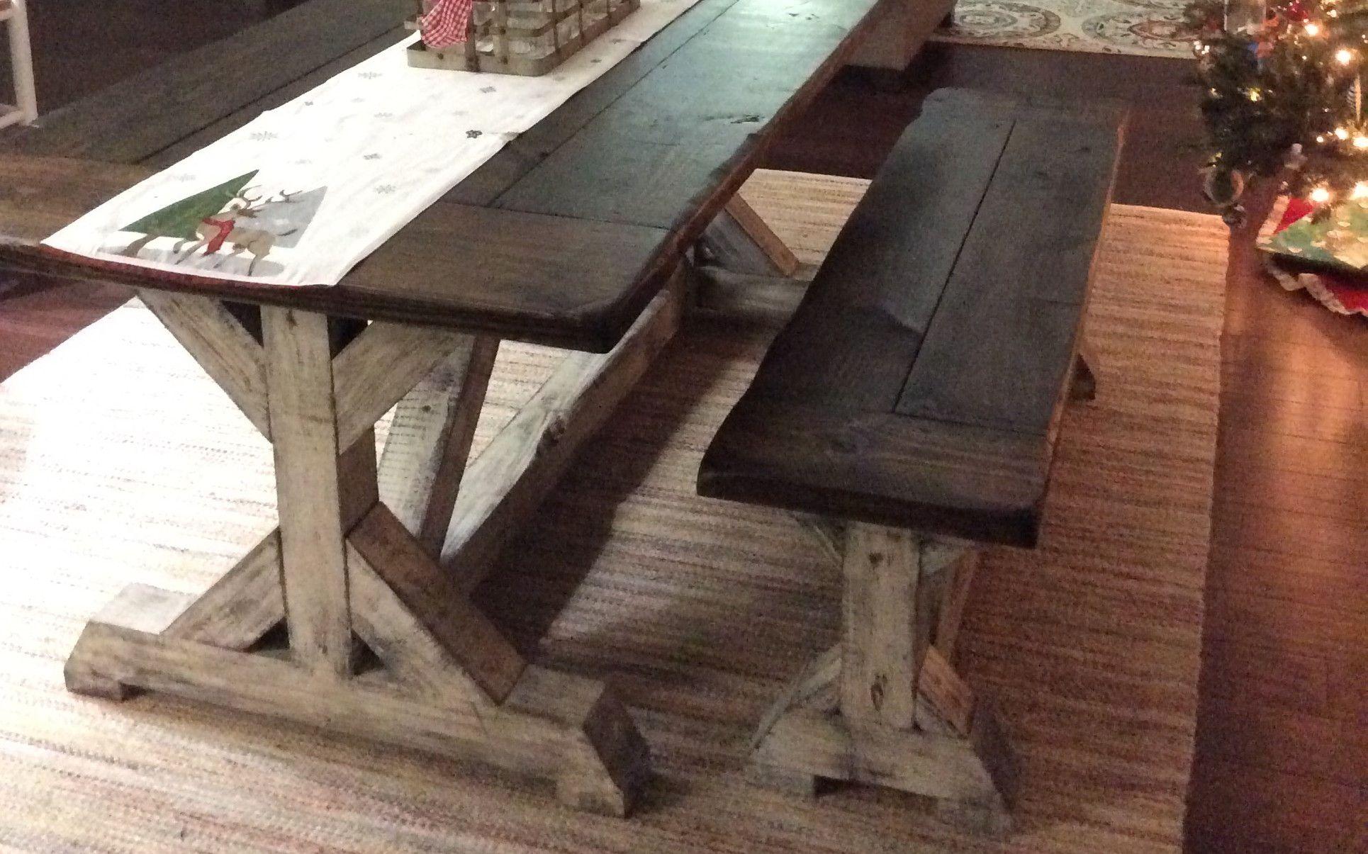 Trestle Farmhouse Table With Beadboard Top