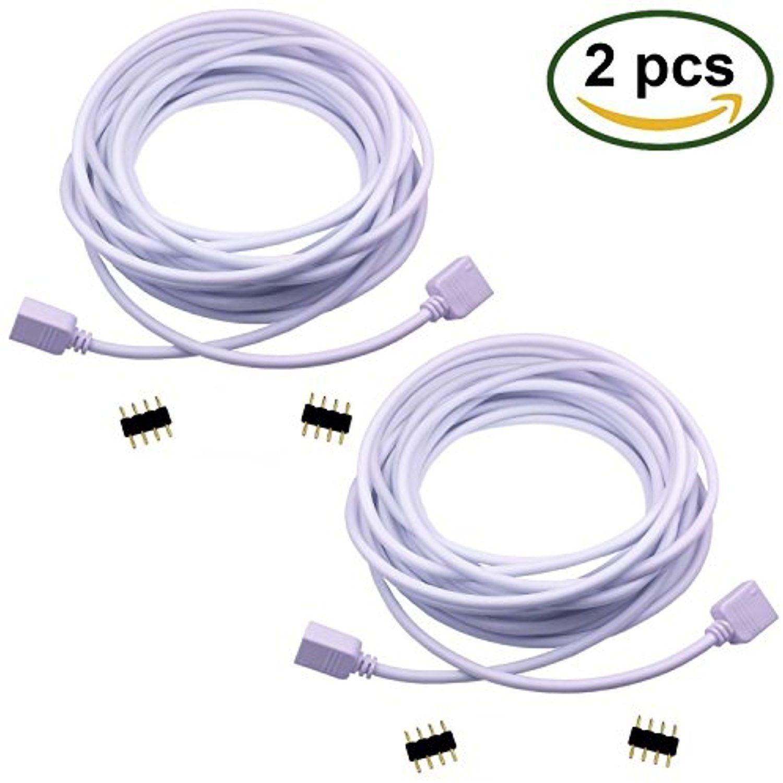 Tronicspros 2pcs 5m 16 4ft Rgb Extension Cable Cord 4 Pin Flex Led Tape Led Ribbon Led Rope Light Led Rope Lights Flexible Led Strip Lights Led Strip Lighting