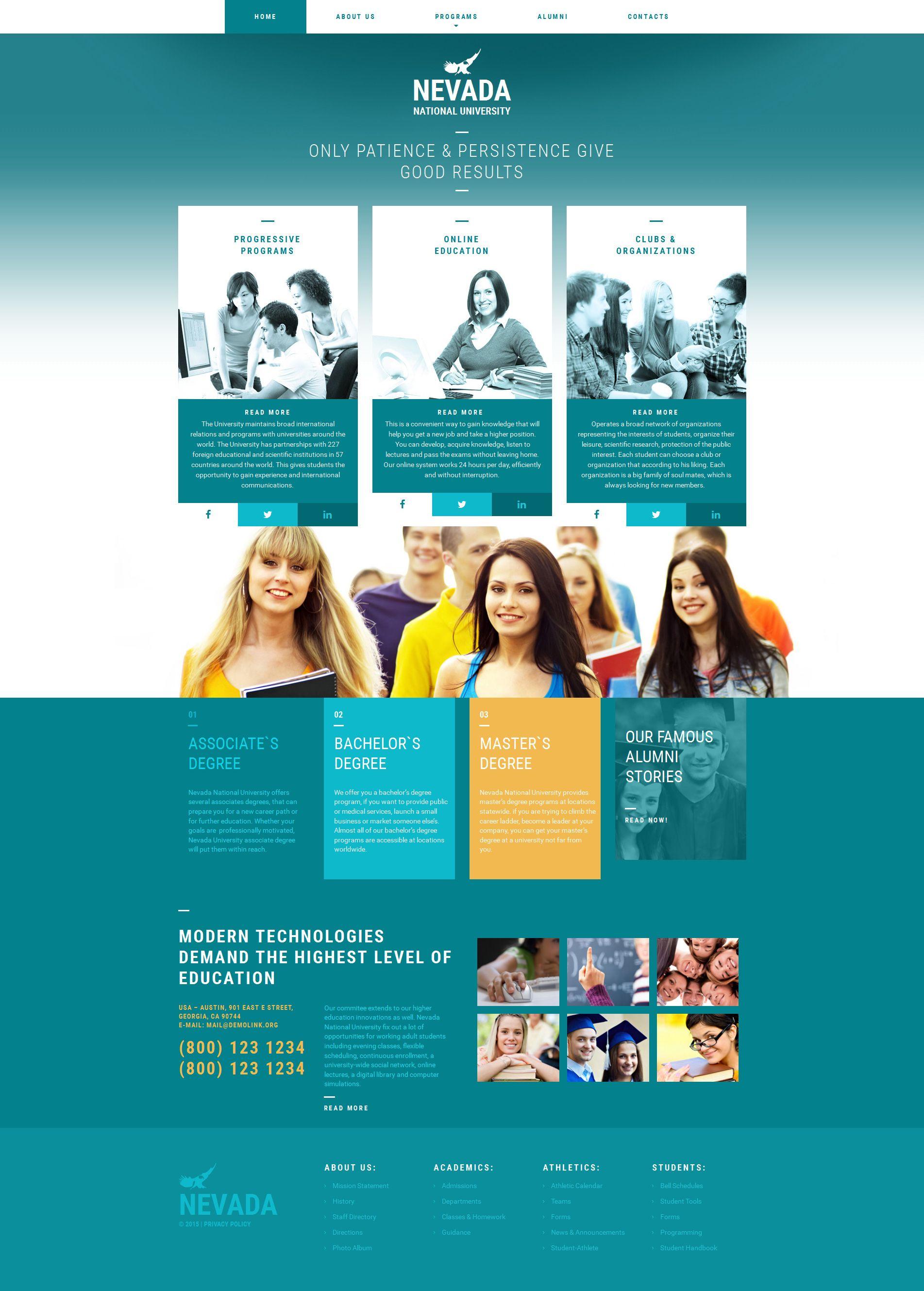 University Responsive Moto CMS 3 Template   University website ...
