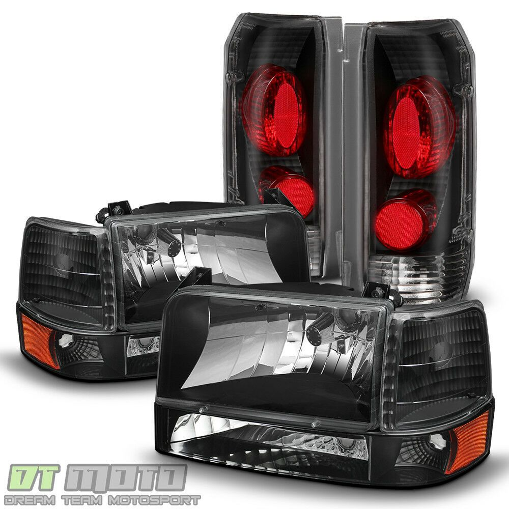 1992-1996 Ford Bronco F150 F250 F350 Black Bumper Headlights Smoke Tail Lights