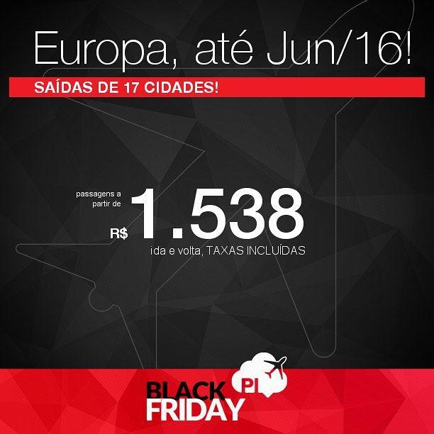 BLACK FRIDAY 2015! Promoção de passagens para a EUROPA por menos de R$ 1.600 ida e volta COM TAXAS INCLUÍDAS!  Saídas de 17 cidades brasileiras para 32 destinos europeus com datas até Junho/2016!   ATENÇÃO PESSOAL! Antes de tentarem datas aleatórias aproveitem para dar uma olhada na seleção de trechos que disponibilizamos no post em nosso site: http://ift.tt/1e4Nm7t  by passagensimperdiveis