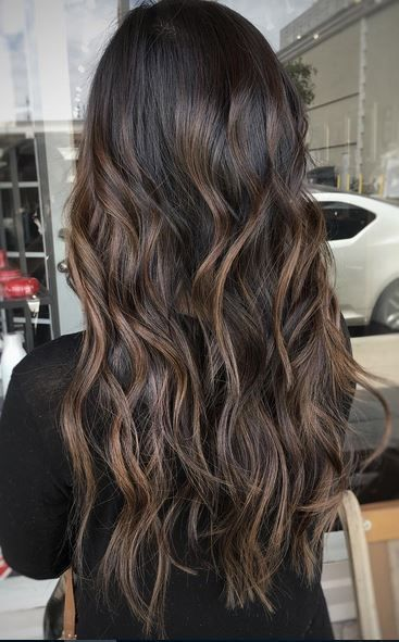 Long Brown Wavy Hair Fall Hair Color For Brunettes Balayage Hair Hair Styles