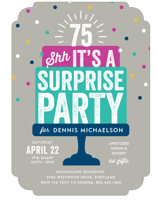 Fun 75th Birthday Surprise Party Invitations Are A Delightful Way To Remind Your Guests Keep The Secret