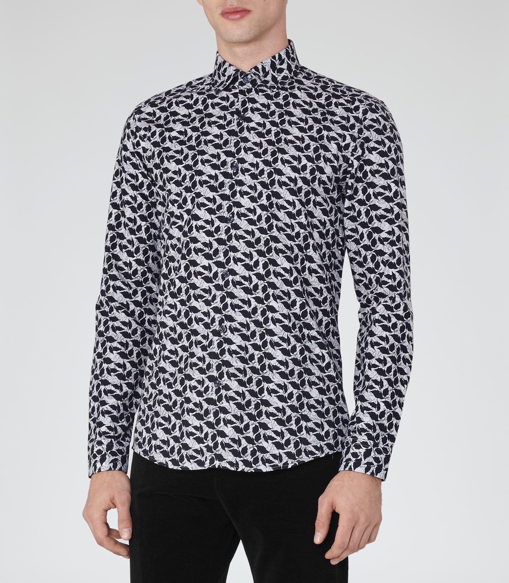Black t shirt reiss - Mens Grey Black Leaf Print Shirt Reiss Oakdale