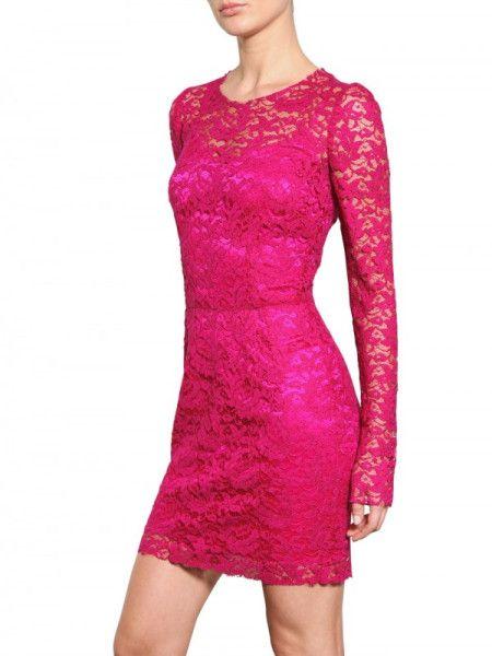 Dolce & Gabbana Viscose Lace Dress in Pink (fuchsia) - Lyst