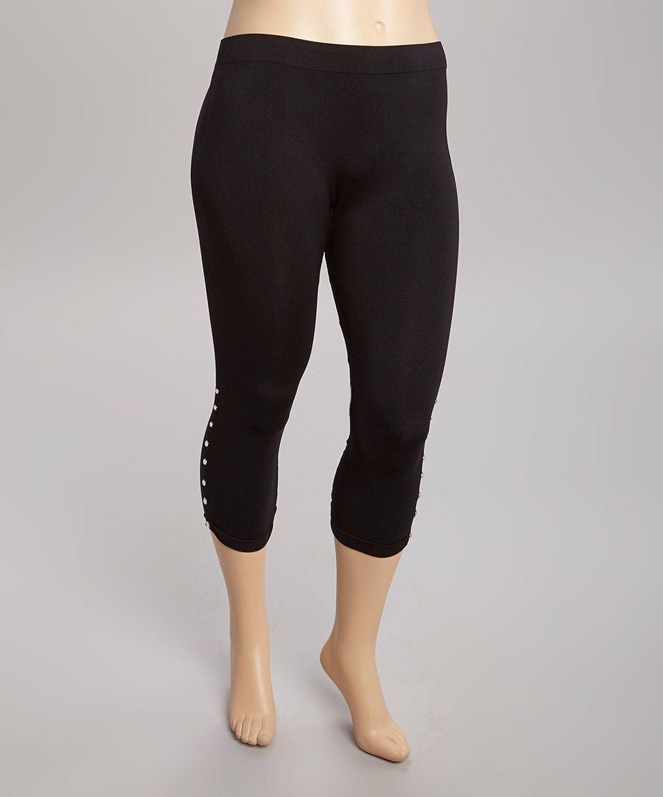 Love this Black Button-Accent Capri Leggings - Plus by Soho Apparel on #zulily! #zulilyfinds