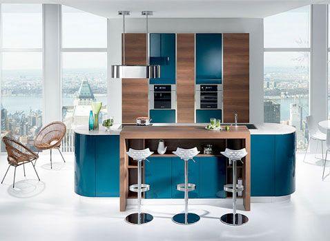 Amazing Cuisine Ouverte Bleu Canard De Design Idées Décoration ...