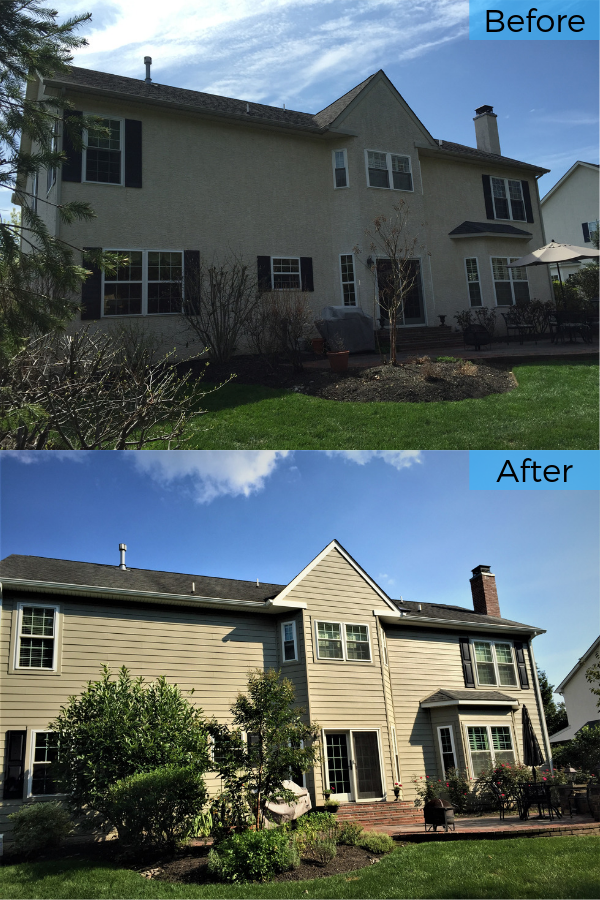 Before And After Replacing Stucco Siding On Doylestown Pa Home With Monterey Taupe Fiber Cement Planks Stucco Homes Stucco Siding Fiber Cement Siding